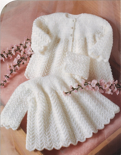 Vintage Knitting Pattern for Baby Dress and Coat in Double Knit or 4ply eBay